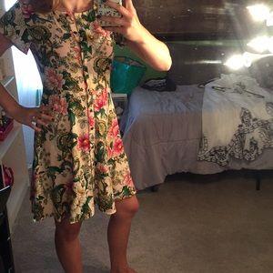 LOFT Short Sleeve Button Dress with Ruffle Skirt